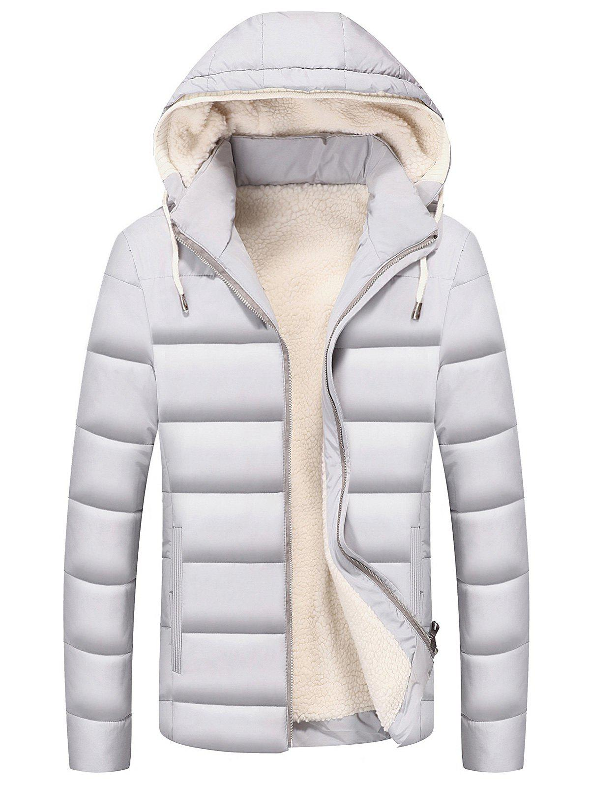 Drawstring Hood Zip Up Puffer Jacket - WHITE 3XL