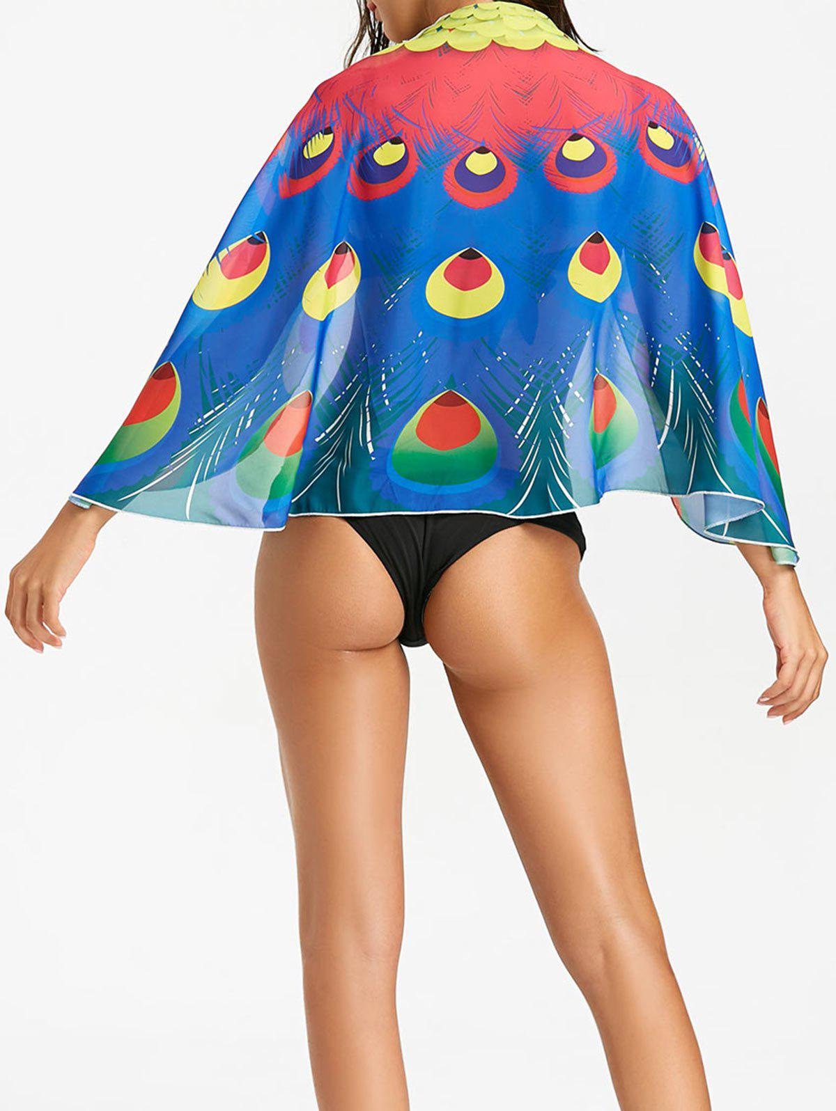 Peacock Feathers Prined Beach Cover Up - COLORMIX ONE SIZE