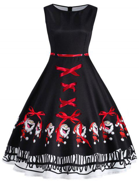 Christmas Santa Claus Print Sleeveless Dress - BLACK M