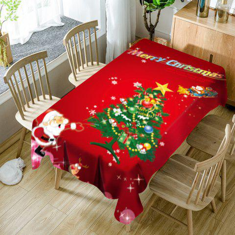 Santa Claus and Christmas Tree Pattern Waterproof Table Cloth - RED W60 INCH * L84 INCH