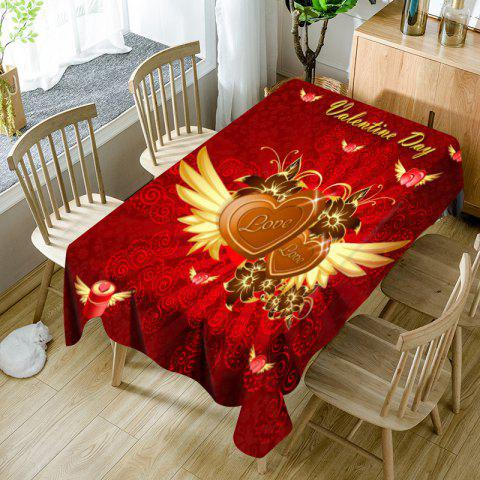 Valentine's Day Hearts with Wings Pattern Waterproof Table Cloth - RED W54 INCH * L54 INCH