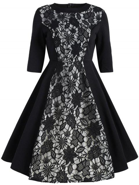 Vintage Floral Lace Insert Dress - BLACK XL