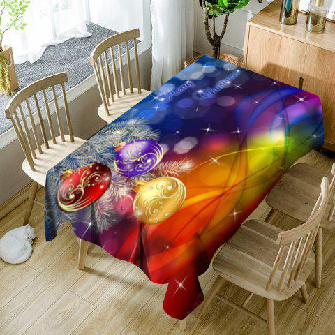 Nappe de Table Imperméable Motif Boules Suspendues de Noël - coloré W60 INCH * L84 INCH