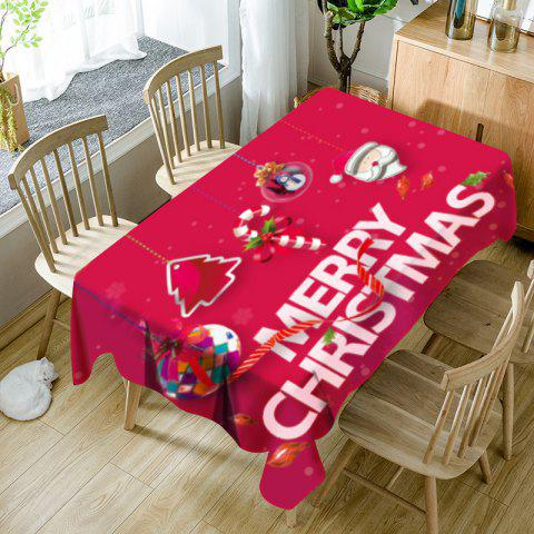Christmas Hanging Ornaments Pattern Waterproof Table Cloth - RED W54 INCH * L54 INCH