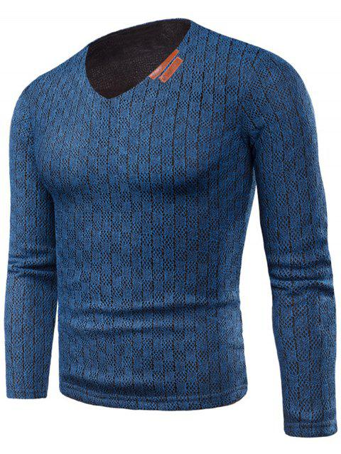 V Neck Applique Fleece Knitted T-shirt - BLUE 6XL