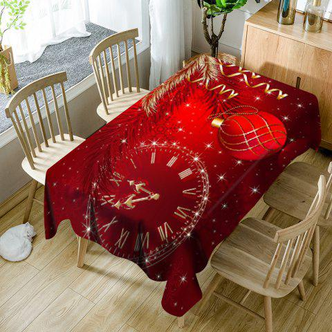 Christmas Ball Snowflake Clock Pattern Waterproof Table Cloth - RED W60 INCH * L84 INCH