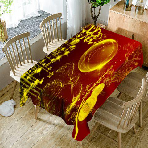 Christmas Graphic Waterproof Table Cloth - RED / GOLDEN W60 INCH * L84 INCH