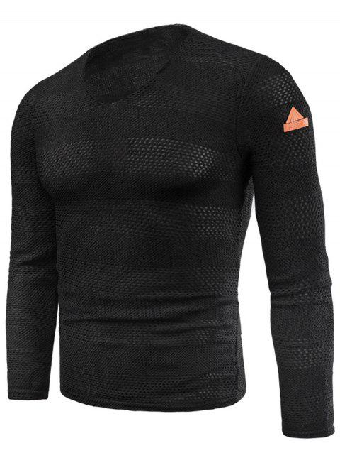 V Neck Long Sleeve Knitted Fleece T-shirt - BLACK 5XL