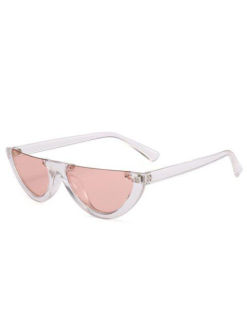 Vintage Semi-Rimless Decorated Cat Eye Sunglasses - LIGHT PINK