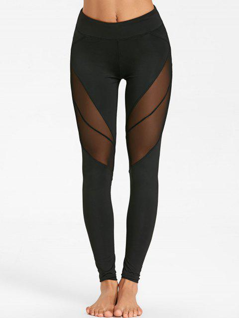 See Through Mesh Insert Yoga Tights - BLACK S