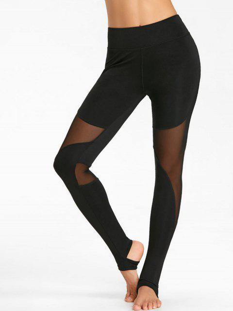 See Through Workout Leggings with Mesh Panel - BLACK L