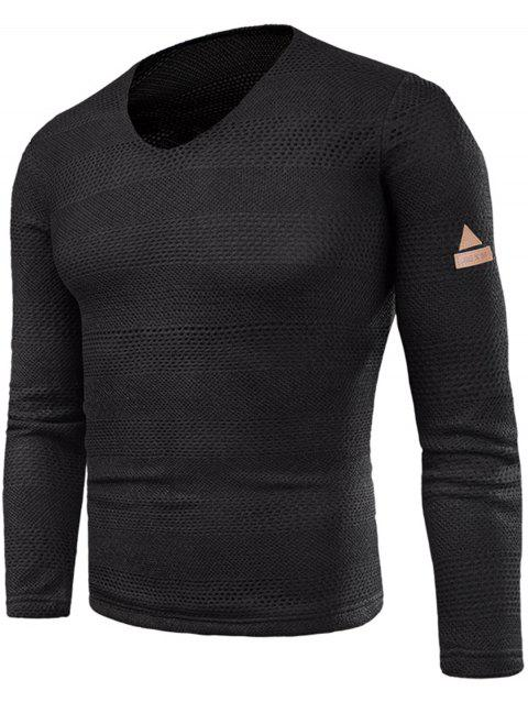 Knitted V Neck Long Sleeve T-shirt - BLACK 3XL