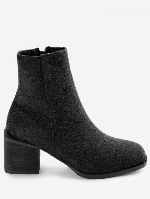 Stacked Heel Side Zip Ankle Boots - BLACK 36