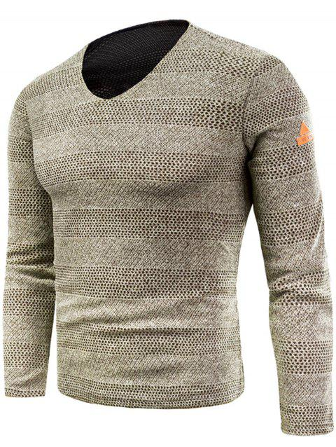 Knitted V Neck Long Sleeve T-shirt - KHAKI 6XL