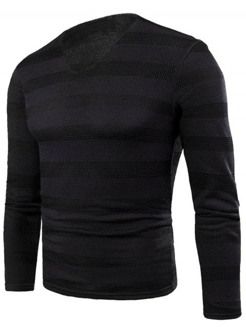V Neck Stripe Fleece Knitted T-shirt - BLACK 5XL