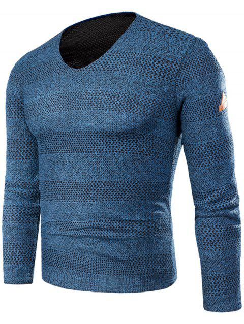 Knitted V Neck Long Sleeve T-shirt - BLUE 5XL
