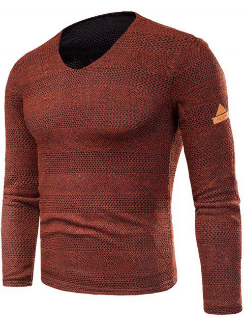 Knitted V Neck Long Sleeve T-shirt - RED 3XL