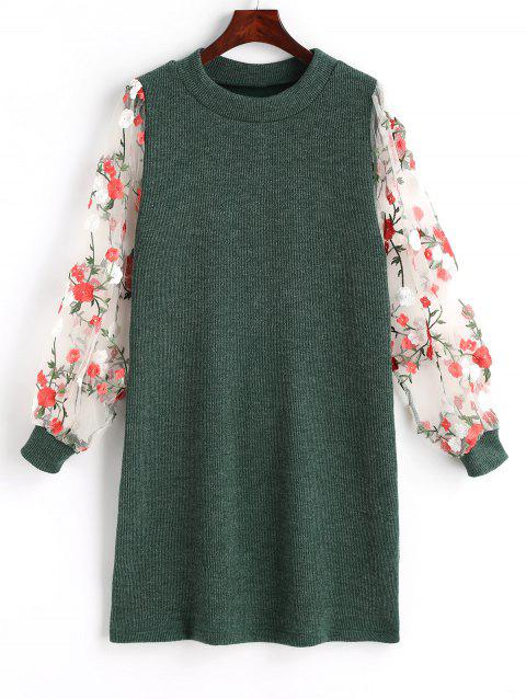 Mesh Panel Floral Mini Knit Dress - GREEN XL