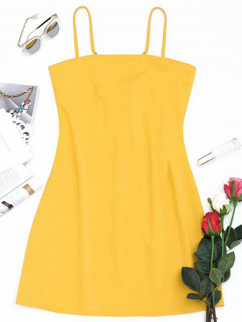 Tied Bowknot Back Mini Spaghetti Strap Dress - YELLOW S