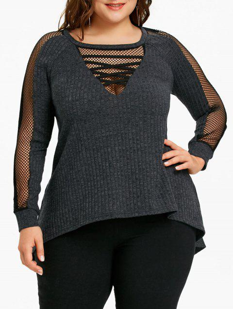 Plus Size Fishnet Panel Ribbed Top - BLACK 3XL