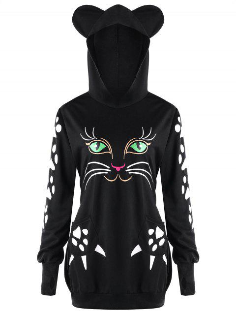 Plus Size Cat Print  Hoodie with Ears - BLACK 2XL