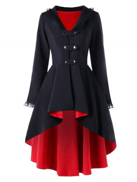 Lace Trimmed High Low Gothic Coat - RED/BLACK M
