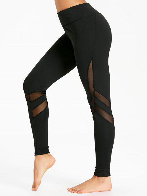 High Rise Mesh Panel Workout Leggings - BLACK S