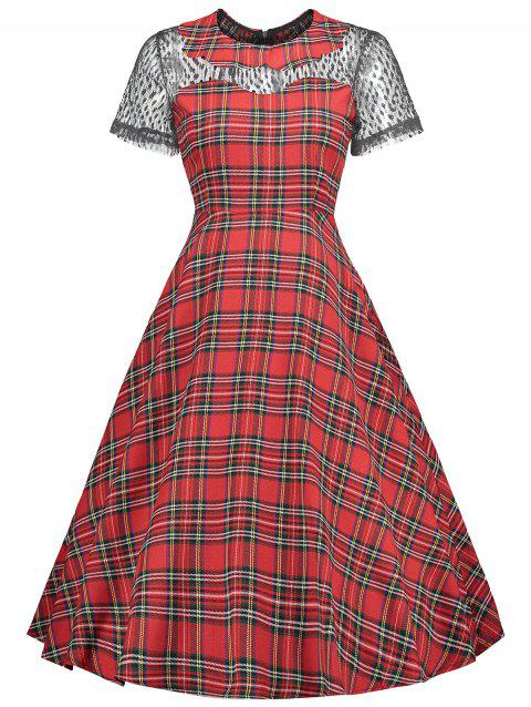 Collared Lace Insert Tartan Vintage Dress - RED L
