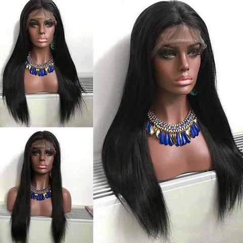 Middle Parting Long Straight Synthetic Lace Front Wig - NATURAL BLACK