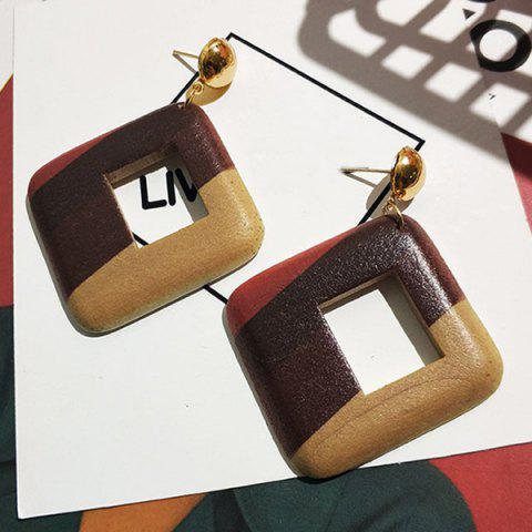 Square Wooden Drop Earrings - COLORMIX