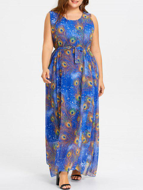 Peacock Feather Print Plus Size Maxi Chiffon Dress - BLUE 4XL