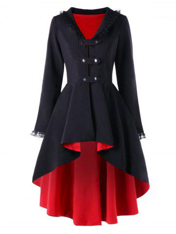 Lace Trimmed High Low Gothic Coat