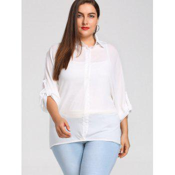 Plus Size Roll Up Sleeve High Low Chiffon Blouse - WHITE 4XL