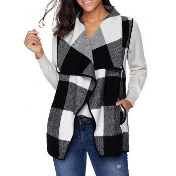 Turndown Collar Plaid Vest - BLACK BLACK