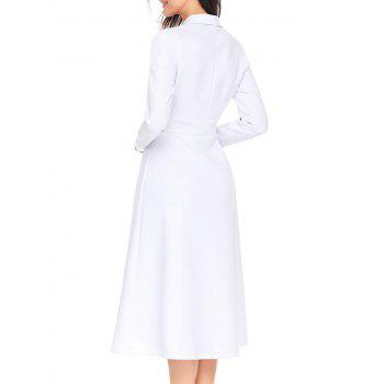 Lapel Col Bouton A-ligne Midi Dress - Blanc XL