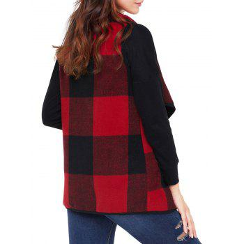 Turndown Collar Plaid Vest - RED L