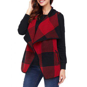 Turndown Collar Plaid Vest