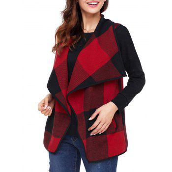 Turndown Collar Plaid Vest - RED M