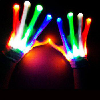 Magic Luminous Party Supplies Performance Rainbow LED Gloves - WHITE