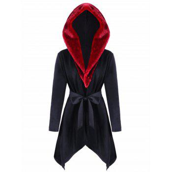 Hooded Faux Fur Collar Asymmetric Coat - BLACK BLACK