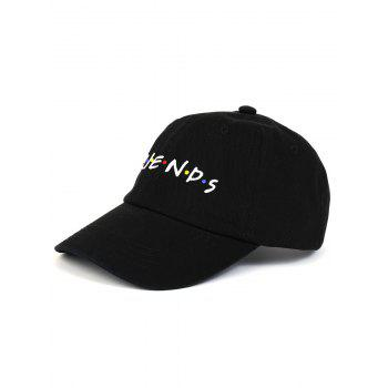 Outdoor FRIENDS Pattern Embroidery Graphic Hat - BLACK BLACK