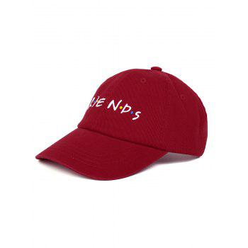 Outdoor FRIENDS Pattern Embroidery Graphic Hat - WINE RED WINE RED