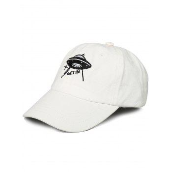 Outdoor UFO Pattern Embroidery Baseball Hat - WHITE WHITE