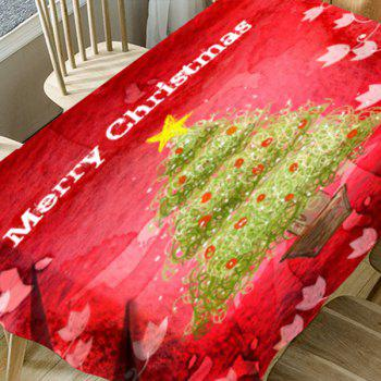 Flower Abstract Christmas Tree Print Waterproof Table Cloth - RED W60 INCH * L84 INCH