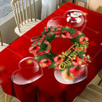Christmas Wreath Heart Bear Printed Waterproof Table Cloth - RED W54 INCH * L54 INCH