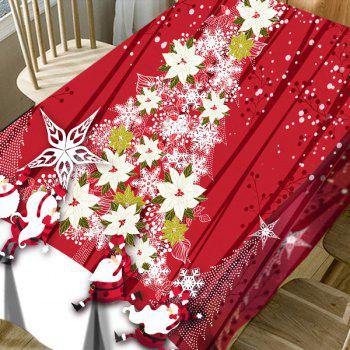 Flower Christmas Tree Santa Claus Pattern Waterproof Table Cloth - RED W60 INCH * L84 INCH