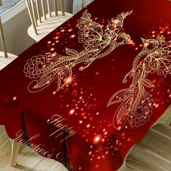 Happy Valentine's Day Heart Two Birds Pattern Waterproof Table Cloth - RED W54 INCH * L72 INCH