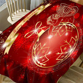 Christmas Ball Angel Snowflake Printed Waterproof Table Cloth - RED W60 INCH * L84 INCH