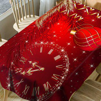 Christmas Ball Snowflake Clock Pattern Waterproof Table Cloth - RED W54 INCH * L72 INCH