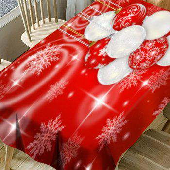 Christmas Hanging Balls and Snowflake Pattern Waterproof Table Cloth - RED W60 INCH * L84 INCH